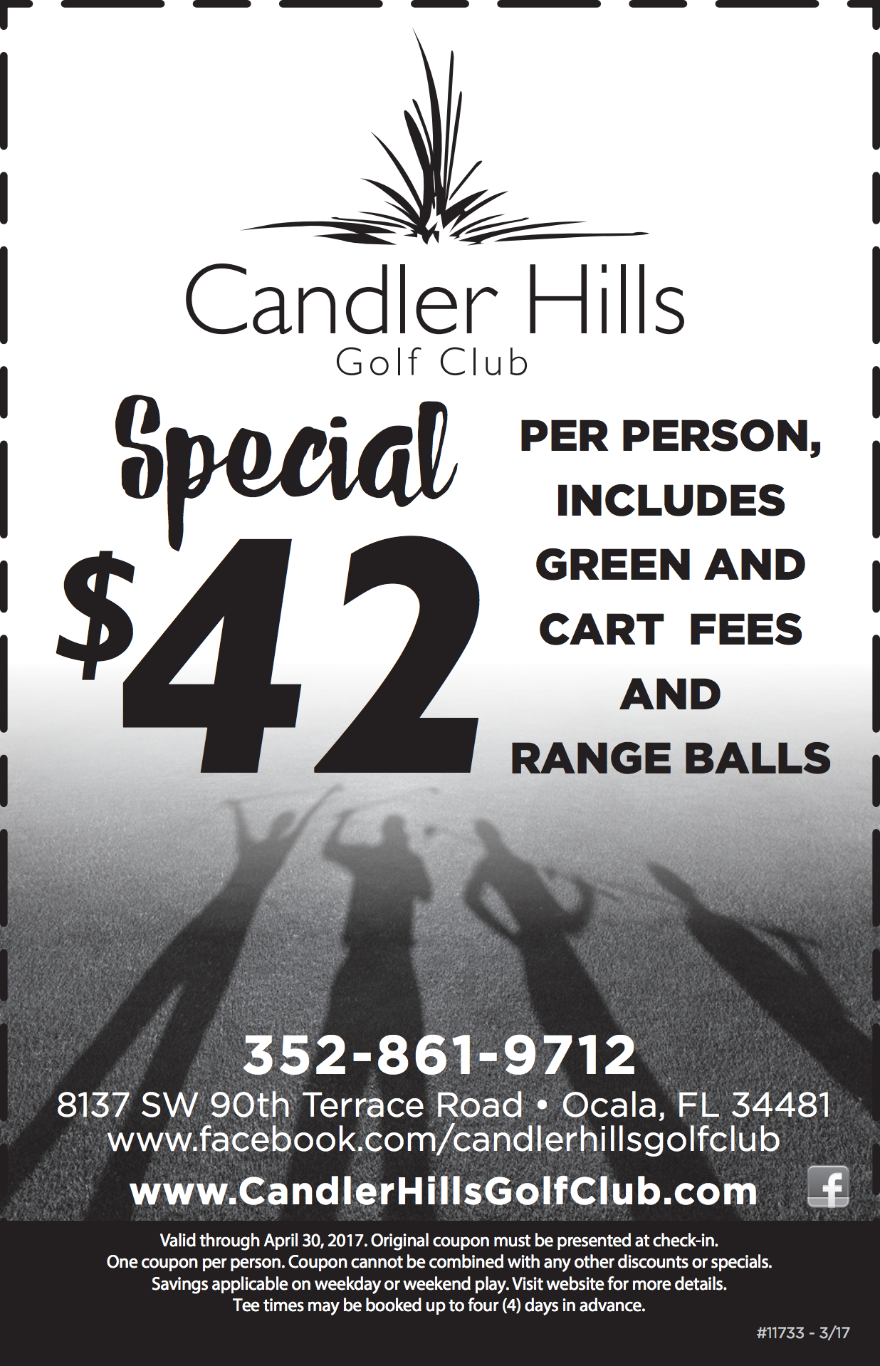 April 2017 coupon for Candler Hills Golf Club.