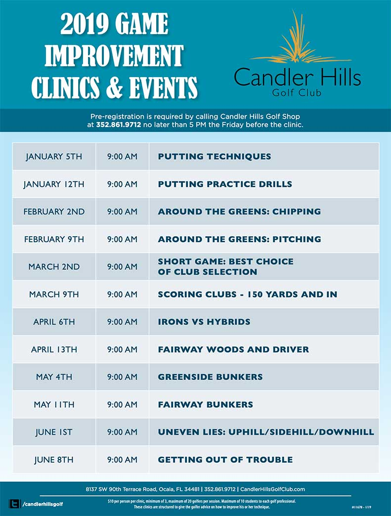 Candler Hills Golf Club 2019 Game Improvement Clinics