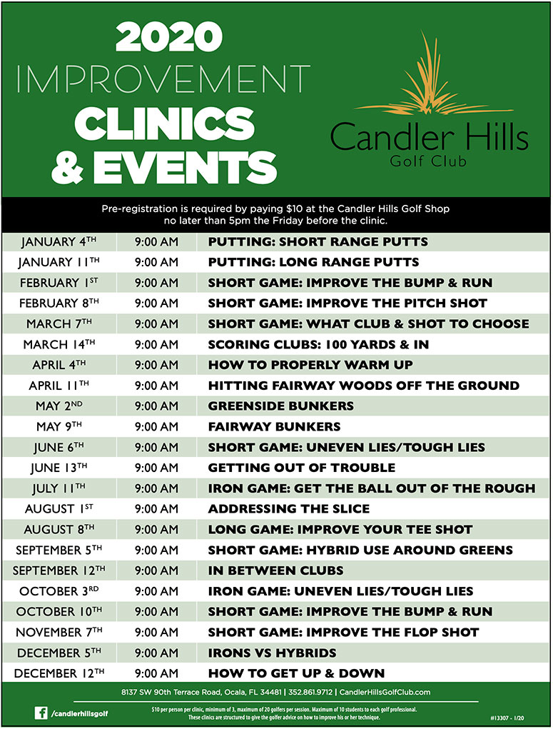 Candler Hills Golf Clinics 2020 schedule
